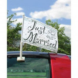 """Just Married"" Plastic Car Flag (1)"