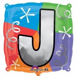 """18"""" Letter J Quad Foil Balloon (1)"""