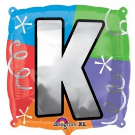 """18"""" Letter K Quad Foil Balloon (1)"""