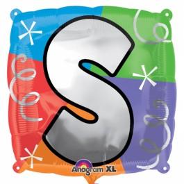 """18"""" Letter S Quad Foil Balloon (1)"""
