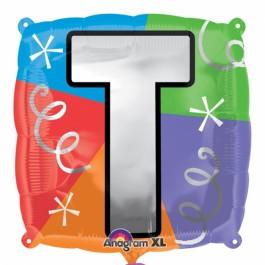 """18"""" Letter T Quad Foil Balloon (1)"""