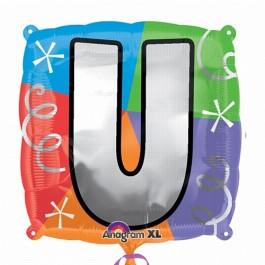 """18"""" Letter U Quad Foil Balloon (1)"""