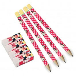 Minnie Café Pencils with Erasers (4)