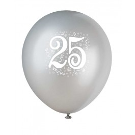Number 25 Printed Silver Latex Balloons (6)