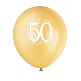 Number 50 Printed Golden Latex Balloons (6)
