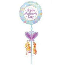 "Pastel Mom's Day Floral Pick Foil Balloon 18"" (1)"