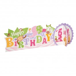 Pink Safari First Birthday Deluxe 3D Centerpiece (1)