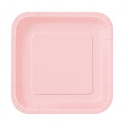 Pastel Pink Square Dessert Plates (16)