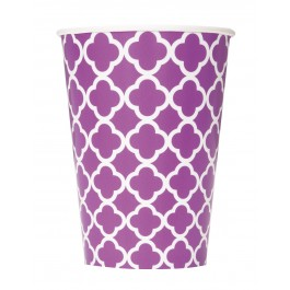 Pretty Purple Quatrefoil Cups (6)