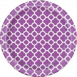 Pretty Purple Quatrefoil Dessert Plates (8)