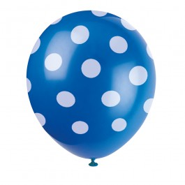 Royal Blue Polka Dot Balloons (6)