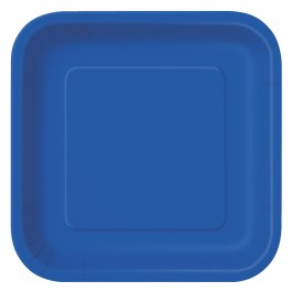 Royal Blue Square Dessert Plates (16)