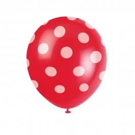 Ruby Red Polka Dots Balloons (6)