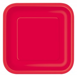 Ruby Red Square Dessert Plates (16)