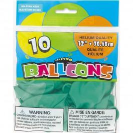 """Seafoam Aqua 12"""" Pearlized Balloons (10)"""