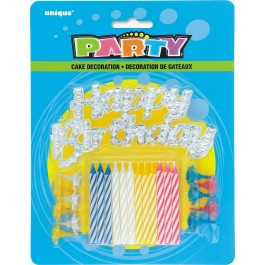 Silver Cake Topper Birthday Candles (12)