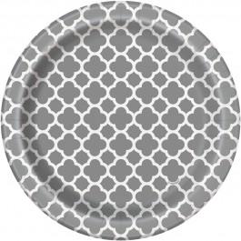 Silver Quatrefoil Dessert Plates (8)
