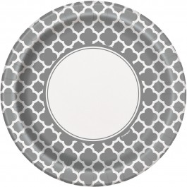 Silver Quatrefoil Lunch Plates (8)