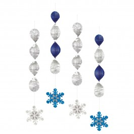 """Snowflakes Hanging Decorations 18"""" (4)"""