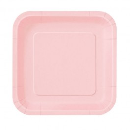 Pastel Pink Square Lunch Plates (14)