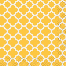 Sunflower Yellow Quatrefoil Beverage Napkins (16)