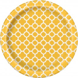 Sunflower Yellow Quatrefoil Dessert Plates (8)