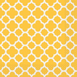 Sunflower Yellow Quatrefoil Lunch Napkins (16)