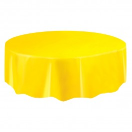 Sunflower Yellow Round Plastic Table Cover (1)