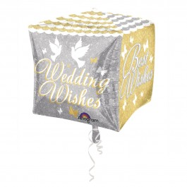 "Wedding Wishes Cubez Foil Balloon 15"" (1)"
