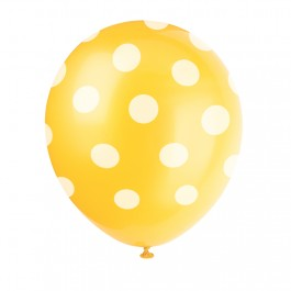 Yellow Polka Dot Latex Balloons (6)