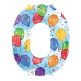 "0 Number Shape Balloon And Streamers  34""  (1)"