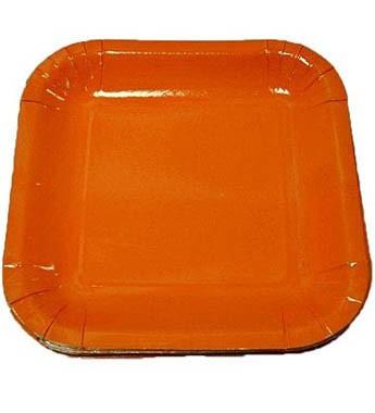 Orange Square Dessert Plates - Paper Party Plates